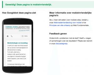 Uitkomst van de mobielvriendelijkheidstest van Google